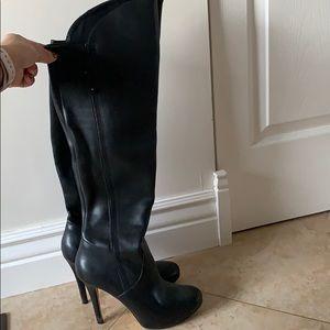 Aldo black leather stiletto boots